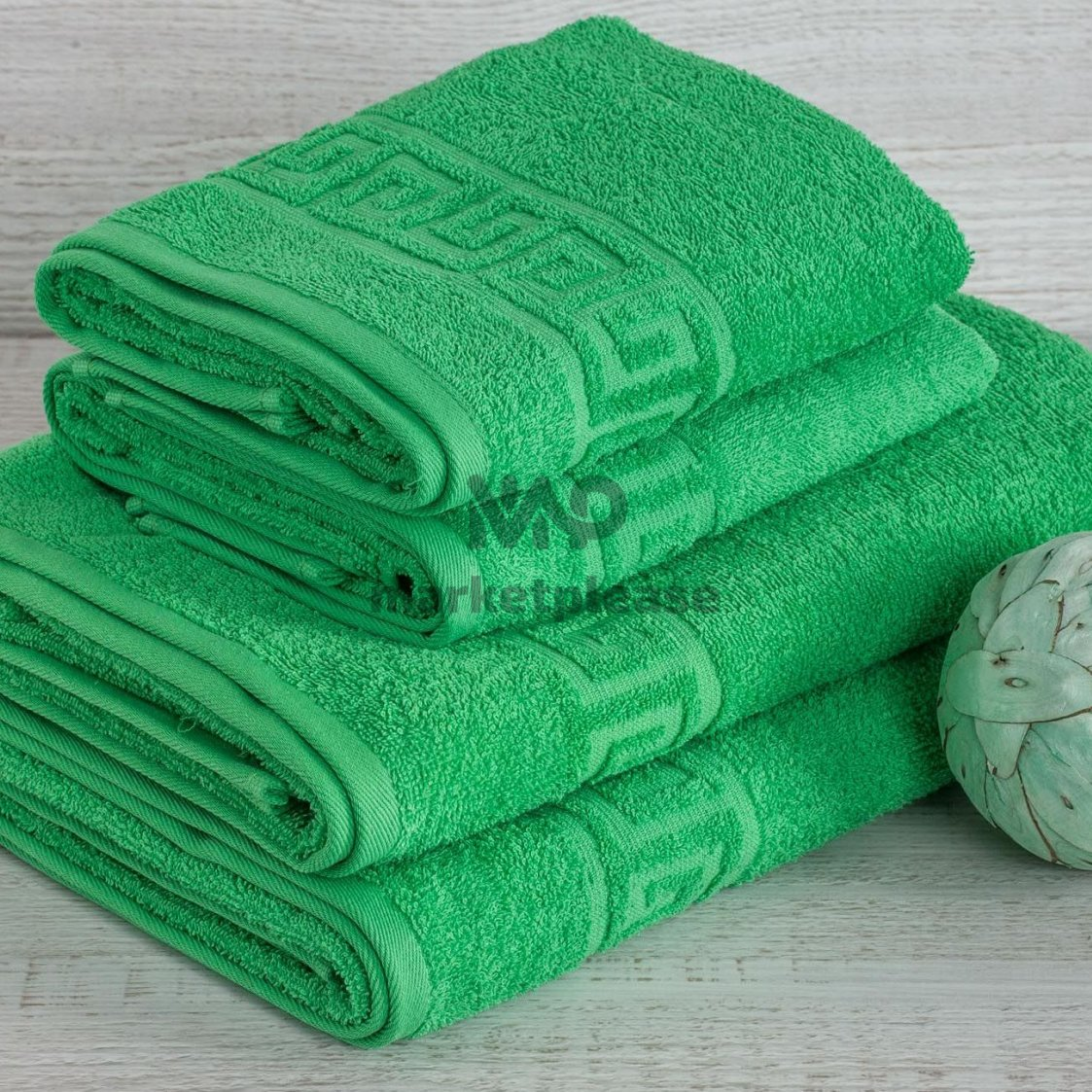Полотенце махровое греческое зеленое