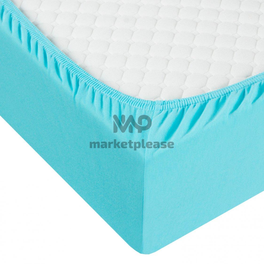 Трикотажная простыня на резинке (цвет бирюзовый)