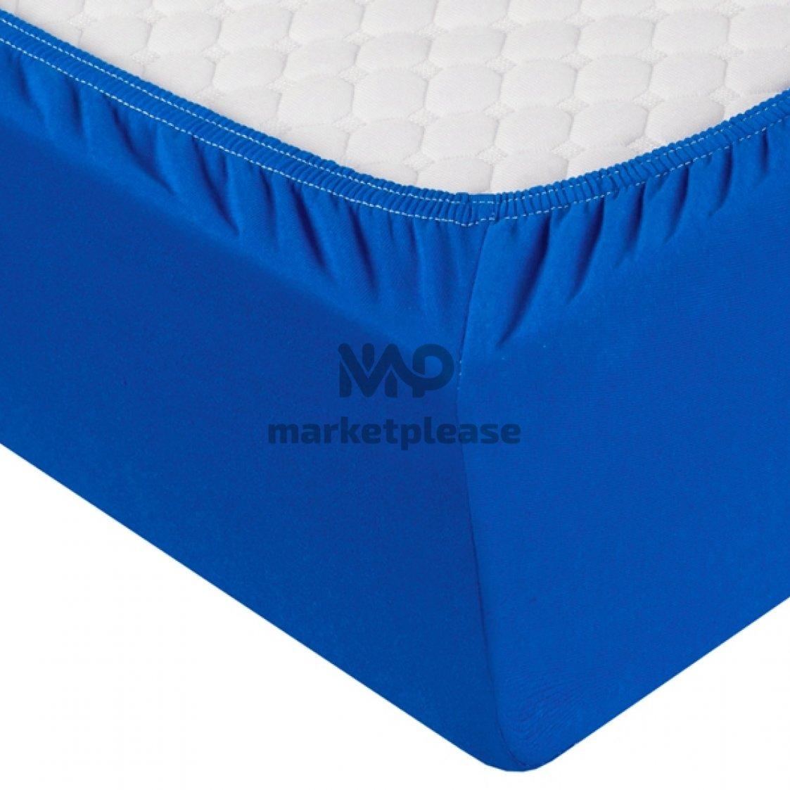 Трикотажная простыня на резинке ( цвет синий)
