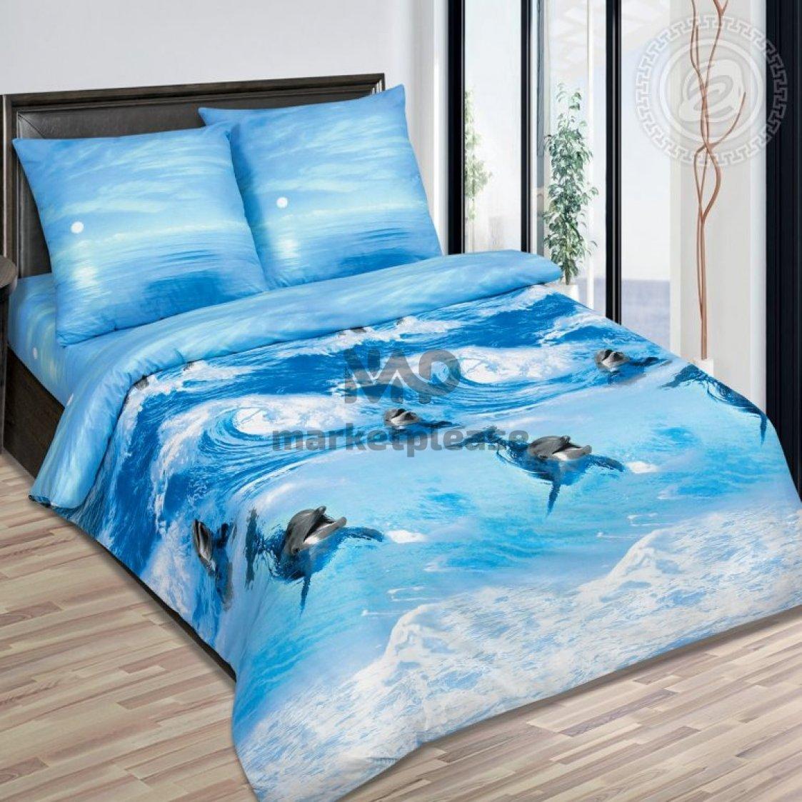"""Рулон ткани поплин """"Дельфины"""" 220 см."""